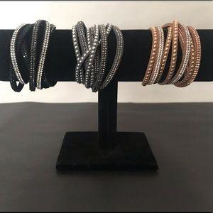 Jewelry - Three 4-strand Wrap Bracelets (black, gray, tan)